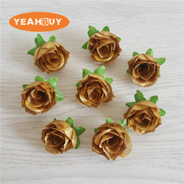 $enCountryForm.capitalKeyWord NZ - 3CM 18Colors 100PCS Artificial Silk Tea Rose Flower Head Bud DIY Home Wedding Garland Gold Decor Hair Clip Accessories Party Display Props
