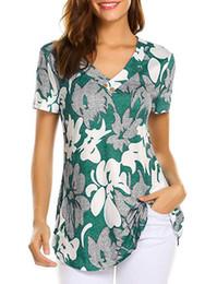 $enCountryForm.capitalKeyWord Australia - Womens Designer T Shirt Summer Short Sleeve Floral Print Breathable Tees for Women V-neck Fashion Loose Style Tops T Shirt S-5XL Wholesale
