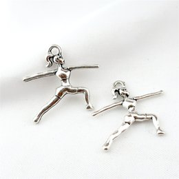 $enCountryForm.capitalKeyWord NZ - 22858 30PCS Charms Vintage Silver Plated gymnastics gymnast sporter 23*21mm Pendant for Jewelry DIY Hand Made Fitting