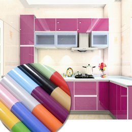 Glossy Paper Roll Australia - Glossy PVC Vinyl Contact Paper for Kitchen Cabinets Door Cover Stickers Home Decor Waterproof Removable Self adhesive Wallpaper