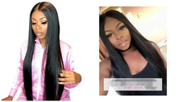 Discount beautiful lace wigs for brazilian hair - Beautiful unprocessed remy virgin human hair long natural color silky straight full lace top cap wig for beautiful lady