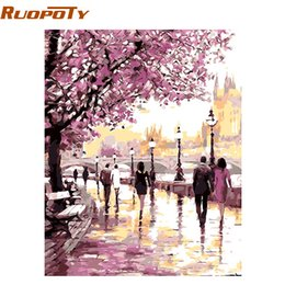 $enCountryForm.capitalKeyWord Australia - diy oil painting RUOPOTY Frame Cherry Blossoms Road Diy Oil Painting By Numbers Kits Wall Art Picture Home Decor Acrylic Paint On