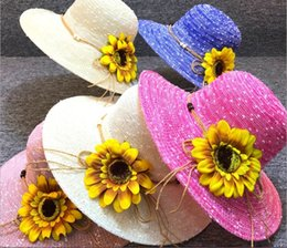 girls straw hat lace NZ - Summer tourist attractions straw hat flower sun hat outdoor sun protection sun flower beach hat