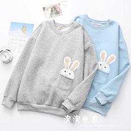 Cartoon Rabbit Hoodies Australia - Winter New Women Harajuku Cute Cartoon Pocket Rabbit Velvet Hoodie Female Fleece Pullovers Sweatshirts Pull Femme