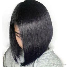 Peruvian Straight Short Wig Australia - Short Wigs Bob Cut Pre Plucked Silky Straight Glueless Virgin Peruvian Bob Full Lace Human Hair Wigs Short For Black Women