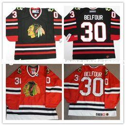 $enCountryForm.capitalKeyWord Australia - Cheap custom ED BELFOUR CHICAGO BLACKHAWKS VINTAGE CCM BLACK RED HOCKEY JERSEY Personalized stitching jerseys