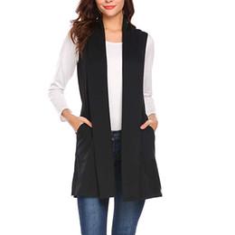 $enCountryForm.capitalKeyWord Australia - Women Coats Autumn Women Casual Sleeveless Cape Shawl Pocket Draped Open Front Cardigan Vest Turn-down Collar Long Coat Jacket