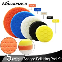 wax for cars wholesale UK - Sponge Polishing Pad Kit for Car Polisher Thread Abrasive Waxing Buffing Foam Pad Car Accessories Auto Products Drill Adaptor