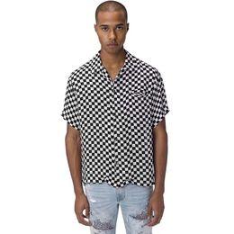 $enCountryForm.capitalKeyWord Australia - Best AM1R1 Black White Silk Checkerboard T-shirt Lattice Shirt Tee Short Sleeve Street Fashion T-shirt Tooling Holiday Tee Summer HFYMTX593