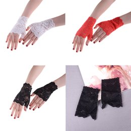 wedding mittens UK - Women Lace Driving Sunscreen Glove Charm Sexy Lady Mittens Bridal Gloves Wedding Gloves 4 Colors