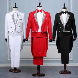 Tail coaT suiTs online shopping - Men White Black Red Jacquard Lapel Tail Coat Stage Singer Costume Homme Wedding Groom Prom Tuxedo Suits Men Suit Jacket Pants Y191115