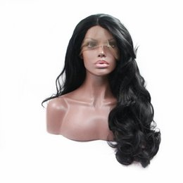black women dark blonde hair 2019 - Fashion High Quality Fashion Natural Black Hair Body Wave Wig Synthetic Lace Front Wig Heat Resistant Fiber 180% Density