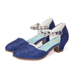 Blue Party Shoes For Girls Australia - Girls High Heel Sandals Kids Shoes For Summer Spring Autumn Glitter Girls Sandals Children Party Shoe Wedding Dress Enfant