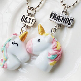 Sterling Silver children chainS online shopping - 2PCS Unicorn Pendant Necklaces For Children Girls Best Friend Friendshipe Necklace Chain Jewelry N1139