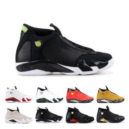 $enCountryForm.capitalKeyWord Australia - Cheap 14 14s Candy Cane Black Toe Fusion Varsity Red Suede Men Basketball Shoes Last Shot Thunder Black Yellow DMP Sneakers