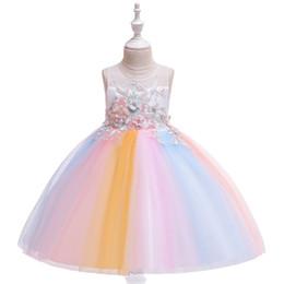 Flowers Girl Dresses Wedding UK - 2019 kids clothes Children's dress princess embroidered lace tutu piano wedding dress show catwalk flower girl dress