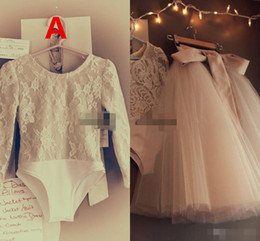 $enCountryForm.capitalKeyWord Australia - Cute Two Pieces Infant Toddler Flower Girls Dresses with Long Sleeves 2020 Lace Bodysuit Full Tutu Skirt Little Girls Birthday Wedding Dress