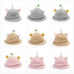 korean boy model NZ - New Kids Hat Autumn and Winter Models Korean Version Of the Bean Sprout Grass Baby Basin Cap Child Warm Lamb Plush Fisherman Hat 830X40