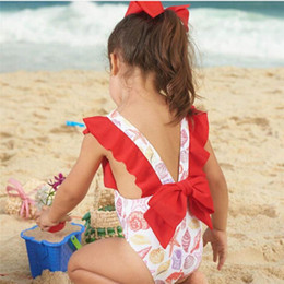 $enCountryForm.capitalKeyWord Australia - wholesale drop shipping Infant Kids Baby Girls Swimsuits Printing Bowknot Backless Swimwear Bathing Suits Fashion S3JUN7