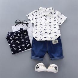 $enCountryForm.capitalKeyWord Australia - kids clothes Outfits 3 colors Boy Polo shirt suit short-sleeved printed T-shirt Tops+Denim Shorts 2 pcs set kids designer clothes boys JY389