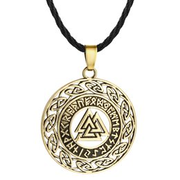 $enCountryForm.capitalKeyWord UK - Huilin Jewelry slavic Pendant Necklace hollow Triangle round pendant retro jewelry silver bronze Viking necklace