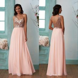 $enCountryForm.capitalKeyWord NZ - Cheap Gold Bridesmaid Dresses A Line One Shoulder Sequins Chiffon Long Beach Wedding Gust Dress Maid of Honor Gowns