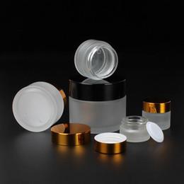 Ingrosso 50g 30g 20g 15g 10g 5g gelo crema per il vetro con coperchi neri in oro argento 1 oz contenitore in vetro 1/3 oz imballaggio cosmetico F1817