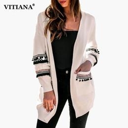 Ladies Jackets Sweaters Australia - VITIANA Women Casual Loose Long Cardigan Female 2018 Autumn Winter Jacket Sweater Open Stitch Ladies Elegant Outwear Knit Coat