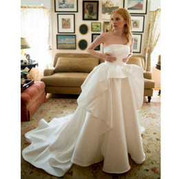 up skirt train images Australia - Chic Strapless A-Line White Satin Wedding Gown Ruffles Skirt with Court Train Princess Wedding Dress Lace Up Back Fitted Wedding Dresses
