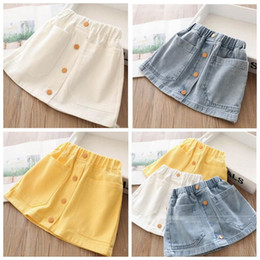 girls jeans minis NZ - Baby Girls Denim Skirt Kids Designer Clothes Princess Jean Skirt Summer Fashion Button Elastic Waist Skirts Girls Casual Mini Dress ZYQA354