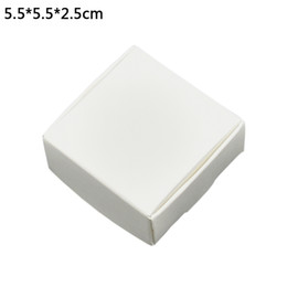 paper cookie boxes UK - 50pcs lot 5.5*5.5*2.5cm White Cardboard Handmade Soap Baking Bakery Cakes Cookies Candy Storage Boxes Kraft Paper Gift DIY Packaging Box