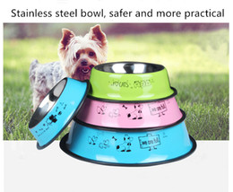 Wholesale dogs english online – design Stainless steel pet bowl non slip anti fall cat and dog stainless steel drinking bowl spray paint English cartoon single bowl