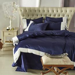 $enCountryForm.capitalKeyWord Australia - Washed Silk Summer bedding set Dark Blue + white Ruffles High Quality Palace duvet cover 100% cotton flat sheet