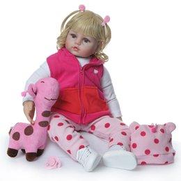 Giraffes Toys For Children Australia - Nicery 23-24inch 58-60cm Bebe Reborn Doll Soft Silicone Boy Girl Toy Reborn Baby Doll Gift for Children Blond Curls Pink Giraffe