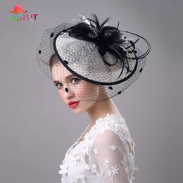 men wedding hats NZ - Bridal Bowler Prom Party Feather Net Yarn Linen Hat Wedding Hat Elegant Fashion Banquet Lady Hats Prom for Women LGDTUT