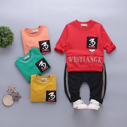 Korean sweater pants online shopping - 2019 new best selling Korean lettered printed sweater two piece children s splicing pants direct sale