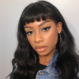 Full Wig Lace Front Bangs Australia - 10-24inch Human Hair Wigs Lace Front Brazilian Malaysian Indian Wavy Hair Full Lace Wigs With Bangs For Black Women Baby Hair Around