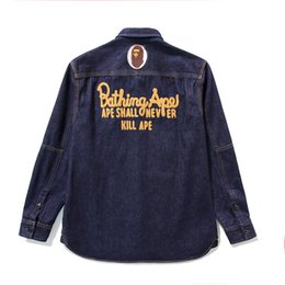 $enCountryForm.capitalKeyWord UK - Autumn Winter Hip Hop Fashion Streetwear Men Women Casual Large Size Denim Blue Jacket Shirt Men's Casual Letter Embroidery Thin Jacket
