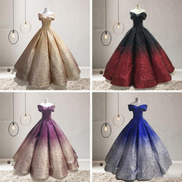White short dress prom online shopping - Gradation Sparkle Sequins Ball Gown Prom Dresses Zipper Back Floor Length Ruffle Dubai Evening Party Gowns vestidos de gala