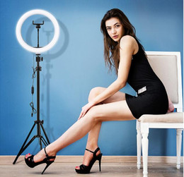 Wholesale 10 inch Video Light Dimmable LED Selfie Ring Light USB ring lamp Photography Light with Phone Holder 2M tripod stand for Makeup Youtube