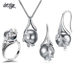 $enCountryForm.capitalKeyWord Australia - Deczign Nice Suspension Pendant earrings ring 3pcs sets Rhodium plate Grey pearl & cubic zircon Fashion leaf statement jewelry set 3745+6508