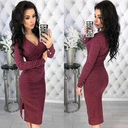 Long wrap sweaters online shopping - Sexy Deep V Neck Long Sleeve Bodycon Knitted Sweater Dress Women Autumn Winter Ribbed Elegant Thin Wrap Club Dresses Robe Pull