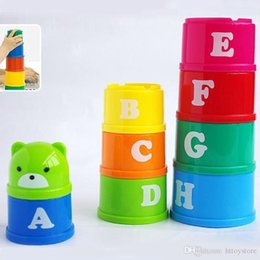 Stacking Blocks NZ - New The First Years Stacking Up Cups Educational Toys Baby Kid Child Development block Figures Letters Folding Cup