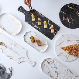 LEKOCH Marble Ceramic Plates Matt Rectangle And Round Ceramic Pizza Plate Cookware Porcelain Sushi Tableware wholesale on Sale