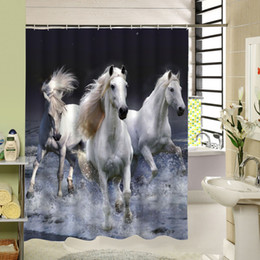 striped shower curtains Canada - 2016 Rideau De Douche New Waterproof Horse Shower Curtain Eco-friendly Washable Bath With Rings For Home Decor Drop Shipping C18112201
