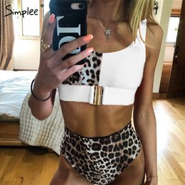 Sexy Beach Suit Australia - Simplee Sexy Leopard Print Women Swimwear Bathing Suit Push Up Two-pieces Bodysuit Summer Beach Casual High Waist Swimsuit Q190521