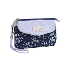 wholesale fashion cotton handbags UK - Cotton floral printing women mini Day clutches handbag ladies small phone pouch bag female bolso mujer bolsas feminina for girls