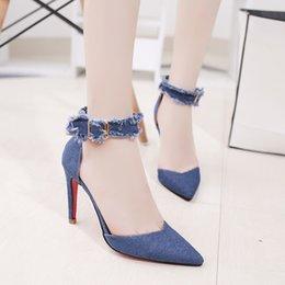 2529255f6c817 Designer Dress Shoes Pointed Toe High Heels 2019 Denim Buckles Top Quality Women  Pumps Sexy Women Chaussure Escarpins Semelle