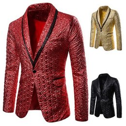 sequin stage clothes Australia - Fashion men's Shiny Gold Sequin Long Sleeve Blazers Nightclub Stage Party Suit Male Autumn 2019 Wedding Casual Blazer Clothes