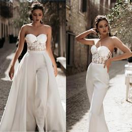 $enCountryForm.capitalKeyWord Australia - Lace Appliqued Wedding Jumpsuits With Detachable Skirts 2019 Sweetheart Tulle A Line Sweep Train Beach Wedding Dress Cheap Boho Bridal Gowns